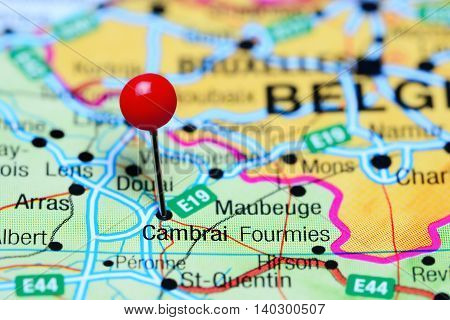 Cambrai pinned on a map of France