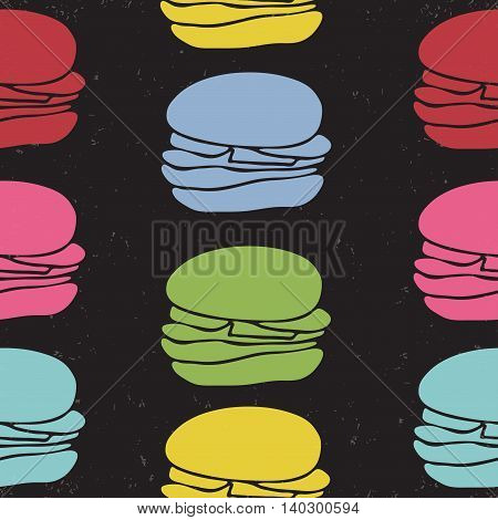 Seamless Pattern Of Fast Food Burgers