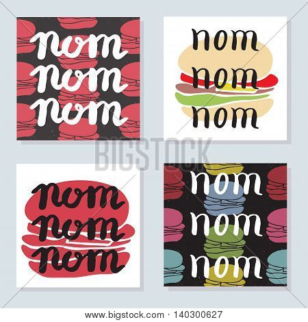 Set Of 4 Bright Cards With Food Typographic