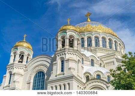 The Naval cathedral of Saint Nicholas in Kronstadt, Saint-Petersburg, Russia. It's Orthodox cathedral was built as the main church of the Imperial Russian Navy.