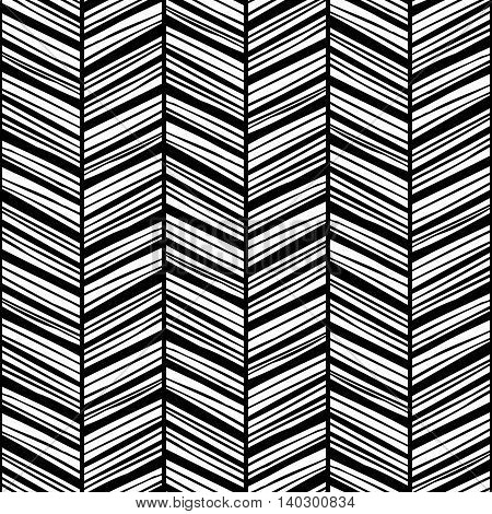 Monochrome zigzag seamless pattern with rough hand drawn black lines