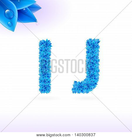 Sans serif font with blue leaf decoration on white background. I and J letters