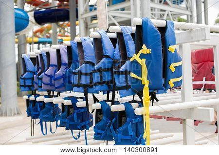Blue life jacket on the clothes line