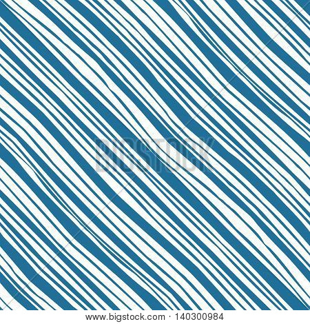 Monochrome striped seamless pattern with diagonal hand drawn blue lines