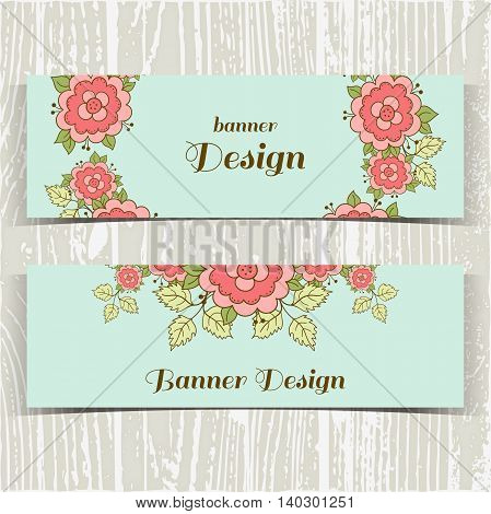 Set of banners with hand drawn pink roses on blue background. Vector illustration.