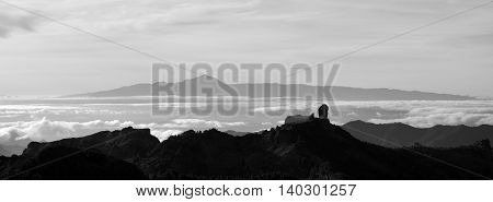Panoramic sunset with monochrome effect, Canary islands