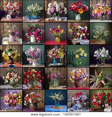 Collage of still lifes with bouquets in a vase on the table.