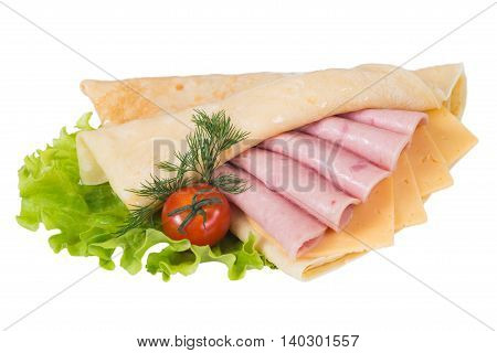 Pancakes with ham and cheese on a white background isolated
