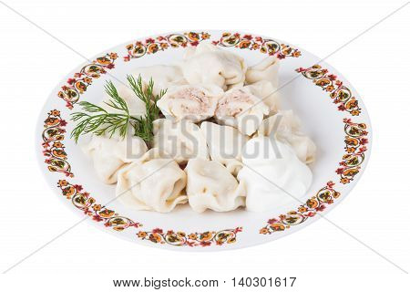 Ukrainian meat dumplings on plate on white background isolated
