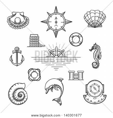 Set of doodle nautical decor elements in hipster style. Hand drawn dolphin seashells seahorse pearl helm etc.