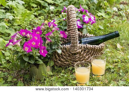 still life with bottle and glasses in a garten