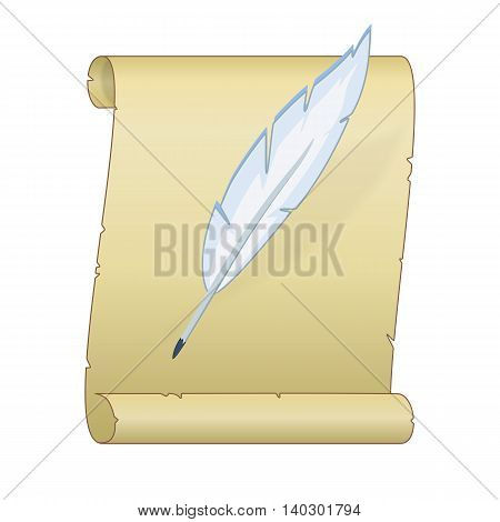Illustration of a yellowed scroll and pen on white background
