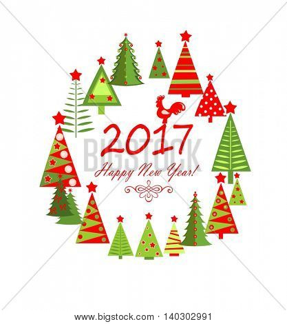 Season greeting with colorful paper red and green firs. Flat design