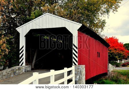 Lancaster Pennsylvania - October 18 2015: 1855 Willow Hill Covered Bridge at the Amish Farm and House Museum *