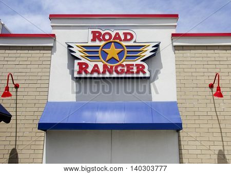 Spencer Wisconsin - July142016 Road Ranger sign on a building entrance Road Ranger is a Rockford Illinois based chain of travel centers and truck stops