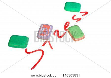 Stress inscription and multicolored erasers on white background with clipping path