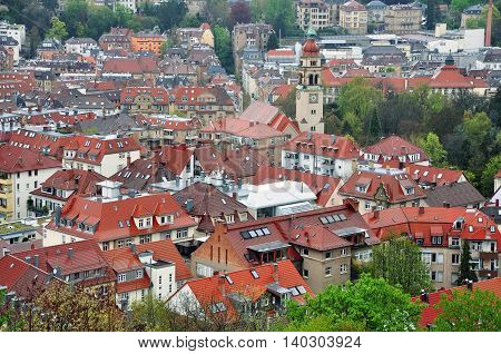 Panorama of Stuttgart, Baden-Wuerttemberg, Germany. Lots of red tiled roofs in perspective.