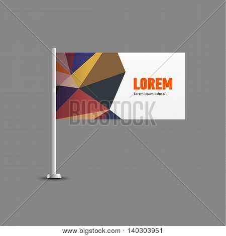 Template for advertising and corporate identity. Flag. Blank mockup for design. Vector white object