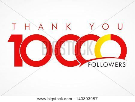 The vector thanks card for network 10000 friends with inscription thank you and number sign. Thank you 10000 followers logo