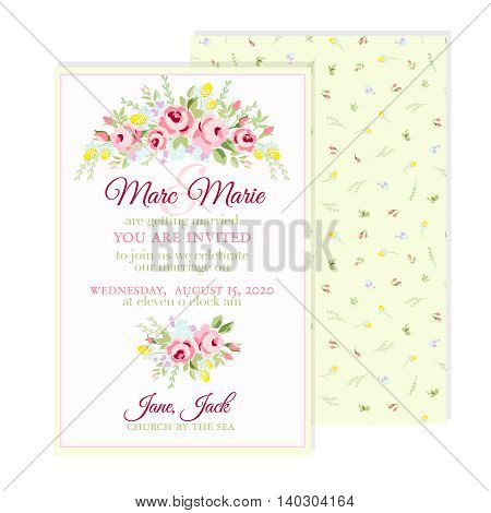 Greeting floral card with small pink roses
