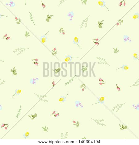Seamless floral pattern with small camomiles roses
