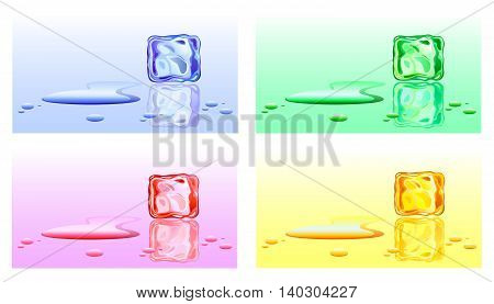 Color options ice cubes with water drops. Vector illustration