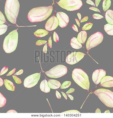 Seamless floral pattern with the abstract watercolor green and pink branches, hand drawn on a grey background