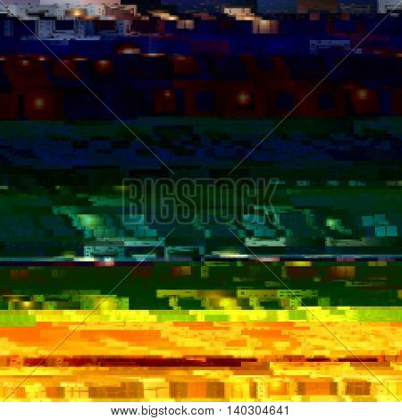 Black and yellow background with light effects in style glitch- art. Vector illustration.