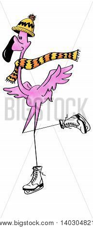 Pink flamingo with scarf and hat and ice skates