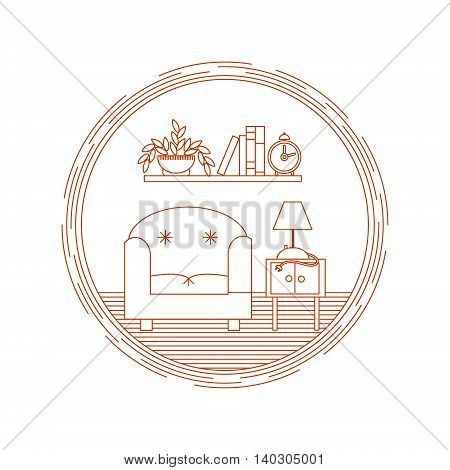 Vector living room with bookshelf and chair illustration in linear style - concept for logo design template