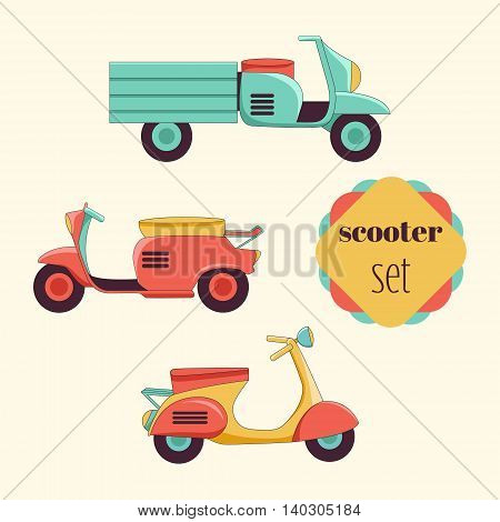 Set of different types of scooters in the flat style. Retro scooter vintage style for your design.