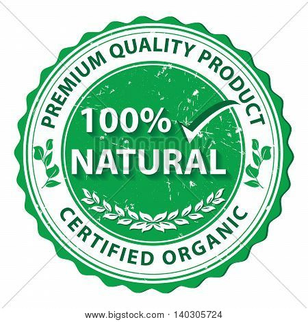 100% Natural, Premium Quality Product. Certified organic - grunge agricultural label. Print colors used