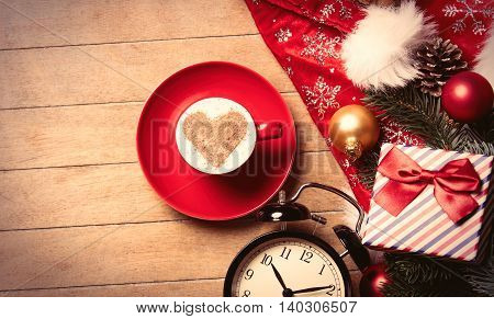 Cup Of Coffee, Clock And Christmas Decorations