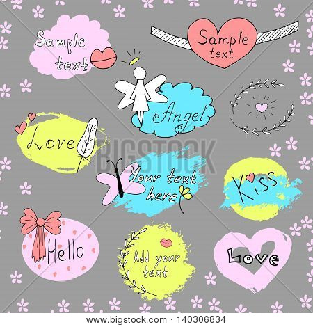 Vector set of labels. Hand drawn lettering. Doodle illustrations with frames, lips, angel, feather, kiss, butterfly ribbon flowers Handmadepainting