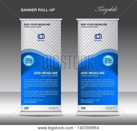 Blue Roll up banner stand template advertisement poster for business