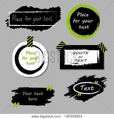 Vector quote boxes collection. Hand drawn frames, square, rectangle and round speech bubbles. Grunge brush strokes texture.Green