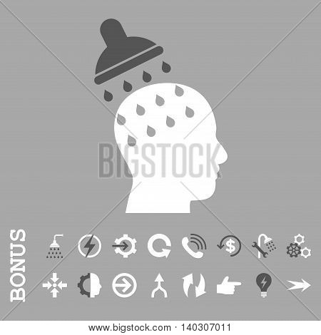 Brain Washing glyph bicolor icon. Image style is a flat pictogram symbol, dark gray and white colors, silver background.