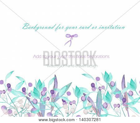 Background, template postcard with the watercolor green leaves on the branches and purple berries (Mistletoe), hand drawn on a white background, greeting card, decoration postcard or invitation