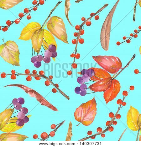 A seamless pattern with a floral ornament of the watercolor forest elements: red and yellow autumn leaves on the branches, berries on the twigs, hand drawn on a turquoise background