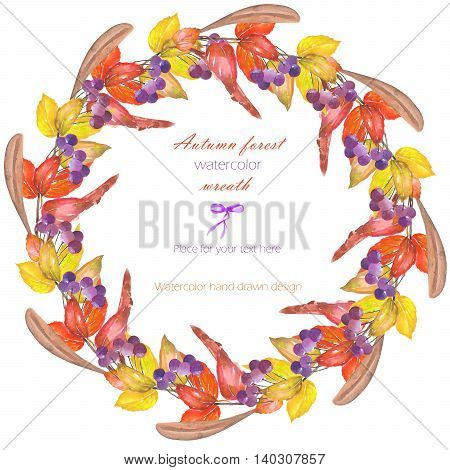 Circle frame, wreath with a floral ornament of the watercolor red autumn leaves on the branches and viburnum berries on a white background