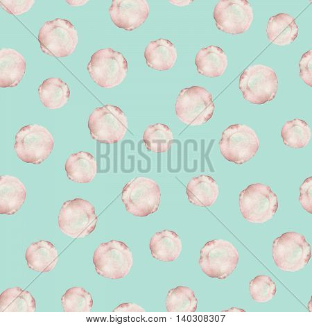Seamless pattern with the watercolor pink spots, blots, hand drawn on a mint background