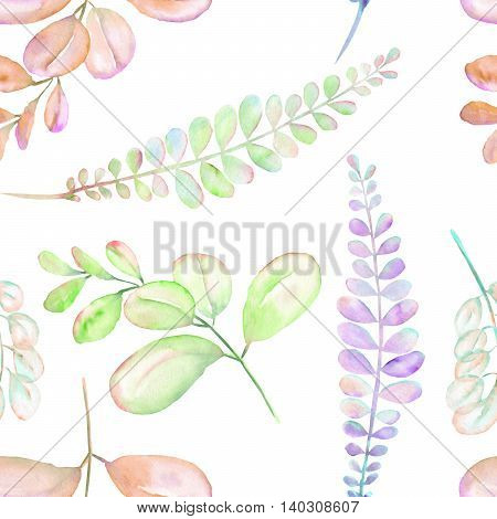 Seamless floral pattern with the abstract watercolor purple, pink and green branches, hand drawn on a white background