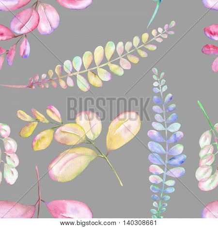 Seamless floral pattern with the abstract watercolor purple, pink and yellow branches, hand drawn on a grey background