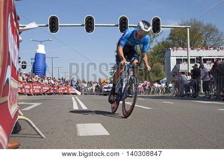 Apeldoorn, Holland, May 6, 2016: Cyclist Alexander Serov of team Gazprom-RusVelo riding during the stage 1 ( time trial) of the Giro d'Italia