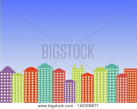 City series background. Colorful buildings, blue bright clear sky, sunny day, vector illustration