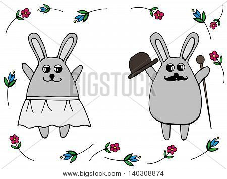 In love wedding rabbit in a skirt and with a hat and walking stick surrounded a scope from flower