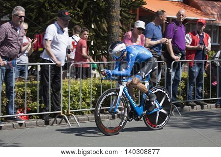 Apeldoorn, Holland, May 6, 2016: Cyclist of team gazprom colnago the prologue of the Giro the italia with spectators along the course