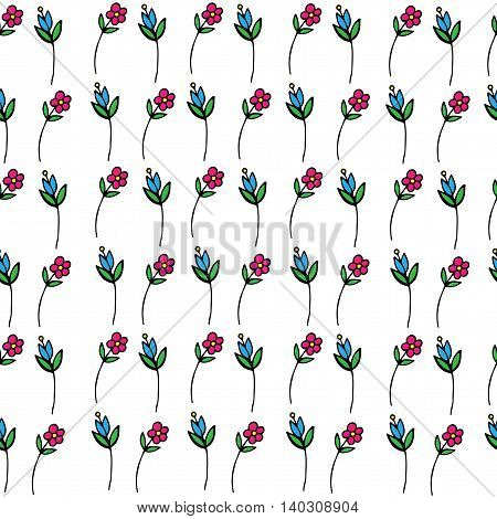 Seamless with isolated little flower on the white background. Vector illustration for banner card invitation textile fabric wrapping paper.