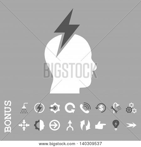 Headache glyph bicolor icon. Image style is a flat iconic symbol, dark gray and white colors, silver background.