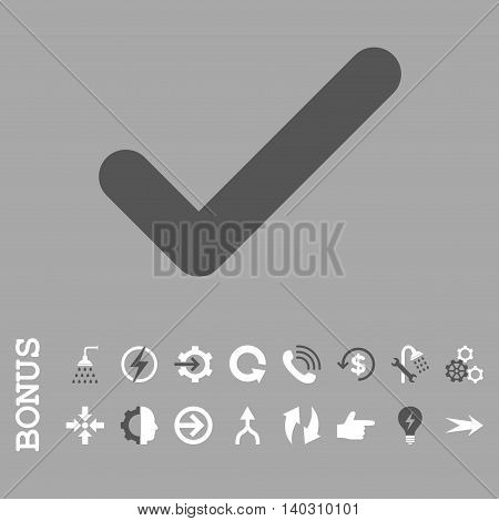 Ok glyph bicolor icon. Image style is a flat iconic symbol, dark gray and white colors, silver background.